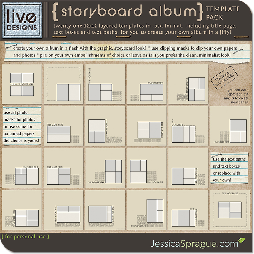 LivEdesigns Storyboard Album Template Pack